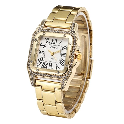 Unique Vintage Rectangular Dial Face Watch Alloy Wristwatch with Crystal Stainless Steel Strap Band for Women