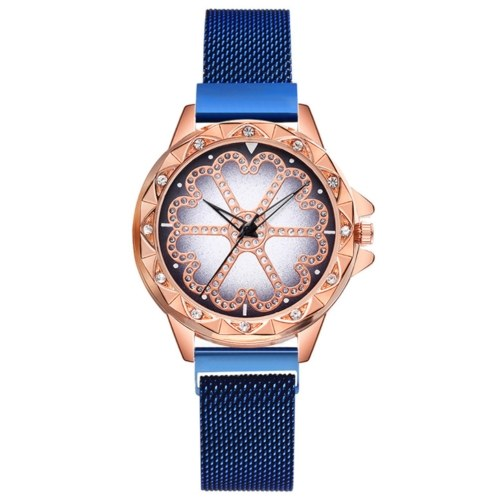 Crystal Flower Dial Face Damenuhr Armbanduhr mit Magnetband