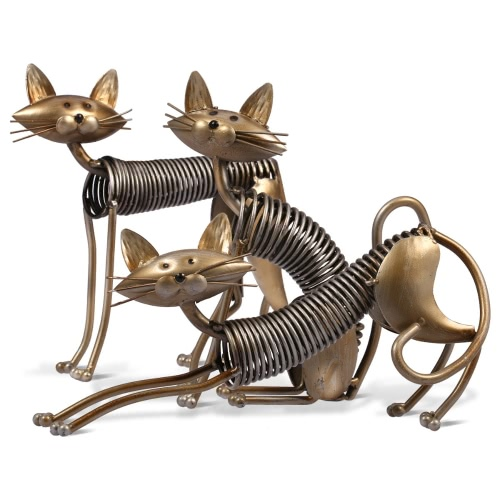 Tooarts Металл скульптуры Iron Art Cat Spring Cat Ремесленная Крафт украшения Главная Обстановка Украшения