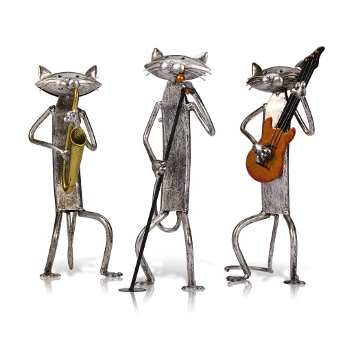 Tooarts Metal Sculpture A Playing Guitar Cat Home Furnishing Articles Handicrafts