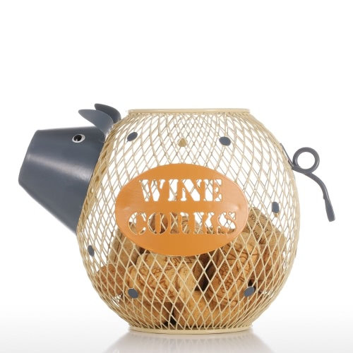 Tooarts Lovely Piggy Wine Cork Container Home Decor Metal Sculpture Animal Craft Gift