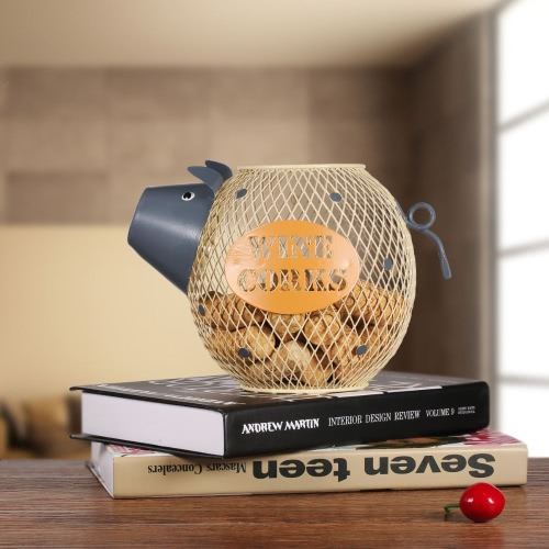 Tooarts Adorável Wine Piggy Cork Container Home Decor de Metal escultura dom tecnologia animal