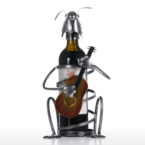 Puppy Wine Rack with Guitar Iron Animal Figurine Creative Wine Rack Practical Ornament Craft Gift