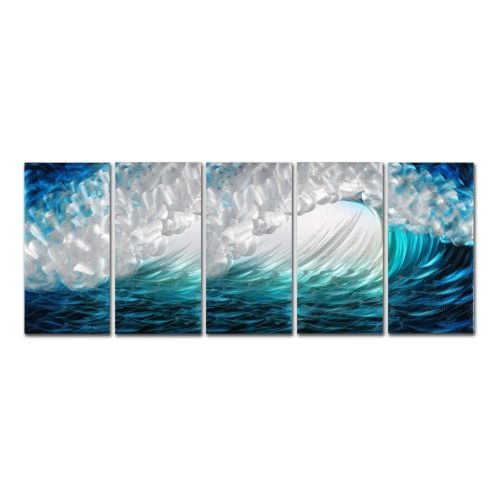 Tooarts Waves Modern Painting Wave Seascape Print Wand Kunst Home Decoration 5 Panels Blau & Grün & Weiß