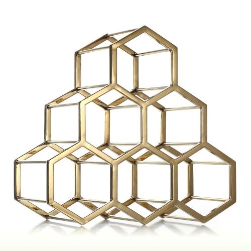 Honeycomb Wine Rack Titular de vino de metal Innovative Wine Holder 6 Botella Rack de almacenamiento horizontal de diseño compacto Decoración casera libre regalo práctico