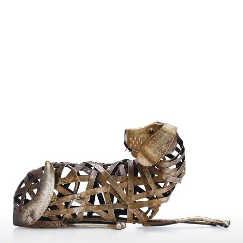 Tooarts Escultura de perro trenzado Adorno de hierro moderno Estatuilla trenzada creativa Artesanía hecha a mano Estantería especial para animales y decoración de escritorio Decoración para el hogar