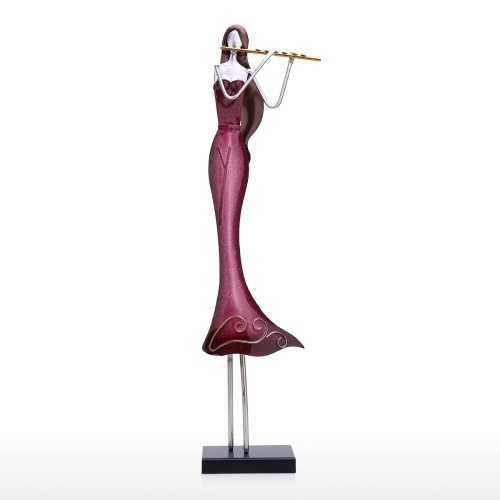 Tooarts Flute Player Ornament Iron Art Decor Handmade Craft Home and Desk Decoration Creative Modern Sculpture Flute Enthusiasts Gift
