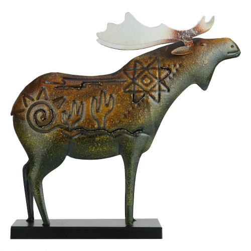 Tooarts Animal Sculpture Iron Moose Ornament Native American Culture Cactus Totem Animal Home DecoVintage Gift
