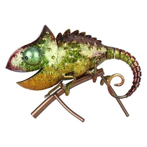 Tooarts Chamäleon Skulptur Eisen Tier Einrichtung Wild Animal Style Innen- oder Außendekoration Chamäleonliebhaber Geschenk Grün