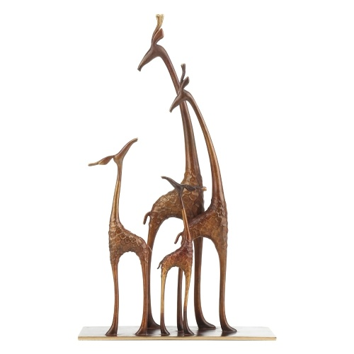 Tooarts Giraffe Family Giraffe with Baby Brass Sculpture Wildlife Figurine Statue Home Tabletop Ornament Collection Art Gift
