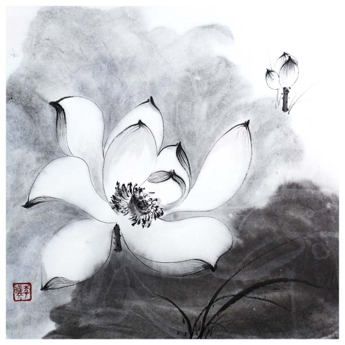 Tooarts Bright and Clear Lotus Chinese Painting Wall Art Artist Hand-Painted Chinese Brush Painting Traditional Decoration Home Office Decoration Painting Carefully Packed