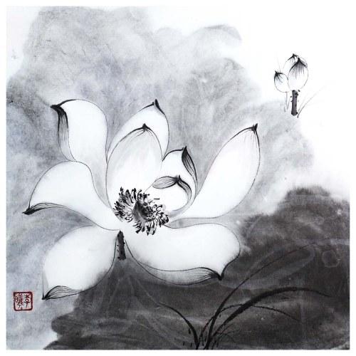 Tooarts lumineux et clair Lotus peinture chinoise Art mural artiste peint à la main peinture chinoise au pinceau décoration traditionnelle décoration de bureau à domicile peinture soigneusement emballé