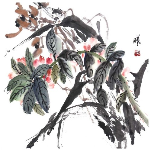 Tooarts Dance in the Spring Sun Chinese Flower Painting Wall Art Artist Hand-Painted Chinese Brush Painting Traditional Decoration Home Office Decoration Painting Carefully Packed