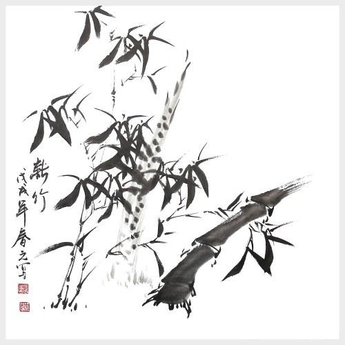 Peinture murale traditionnelle chinoise d'art de mur en bambou frais pour la décoration murale