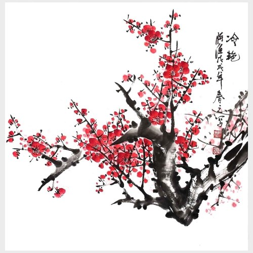 Traditional Chinese Painting Elegance Plum Blossom Wall Art Hand Painting Flower Wall Decor Home Decoration