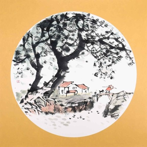 Life in Village Traditional Chinese Painting Wall Art Picture for Home Decoration Beautiful Scene
