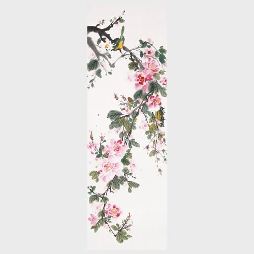 Le printemps est dans l'air Belles fleurs et oiseaux peinture murale Art 100% à la main peinture originale décoration murale