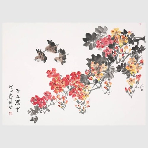 Voler dans les branches fleur et oiseau peinture murale Art Photos images abstraites fleurs peintures pour salon chambre bureau décoration