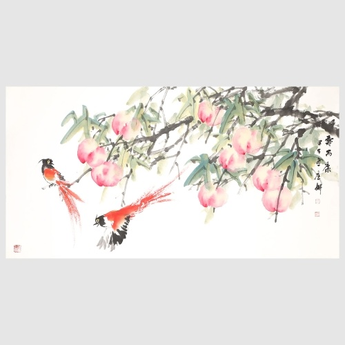 Peaches and Asian Paradise Flycatcher Nature Painting Pictures Wall Art for Home Decoration Gift Hanging Artwork