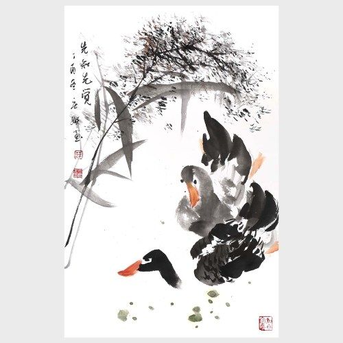 The Duck Witness the Warmth of the River First in the Spring Duck and Bamboo Natural Art Wall Decor Decoration Gift
