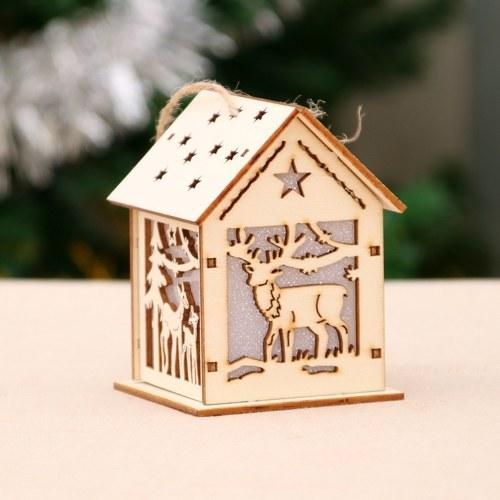 Christmas decorations luminous wooden house snow house hotel bar фото
