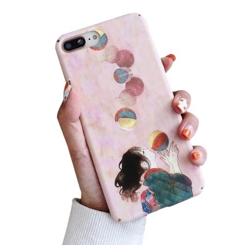 Stoßfeste Handyhülle Hard Shells Slim Matte Ganzkörper-Schutzhülle Anti-Rutsch-Handyhülle mit Pinky Cartoon Cute Girl Ballon Design für XIAOMI für HUAWEI (Huawei ENJOY8 / HONOR7C)