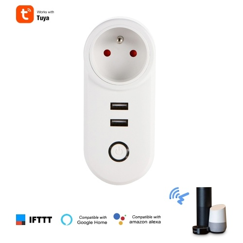 Tuya Smart WiFi Socket FR Remote Control by Smart Phone from Anywhere Timing Function, Voice Control for Amazon Alexa and for Google Home IFTTT