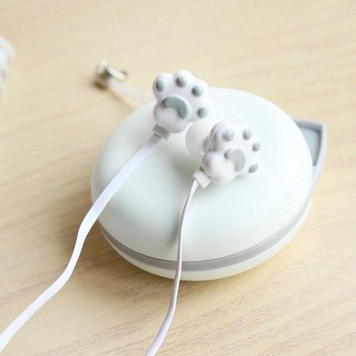 In-Ohr-Kopfhörer der kreativen Kätzchenklauen nette Mädchenkopfhörer mit schönem Magazinstudenten-Karikaturkopfhörerweiß