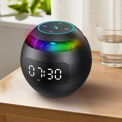 Model ball clock wireless bluetooth speaker portable voice collection card small steel cannon bluetooth speaker Black flagship