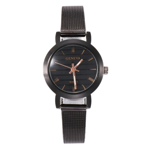 Simple Roman Numeral Time Quartz Watch Women Fashion Alloy Mesh Band Wrist Watch