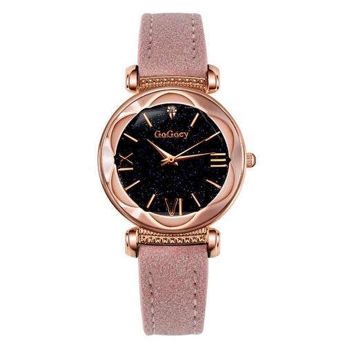 Montre-bracelet à quartz pour femme avec miroir convexe irrégulier et ceinture à miroir