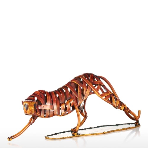Tooarts Metal Weaving Leopard Sculpture en fer Décoration artisanale Sculpture animale