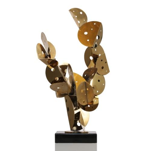 Cactus Metal Ornament Sculpture en acier inoxydable Ornement d'ornement abstraite dans l'hôtel et le club