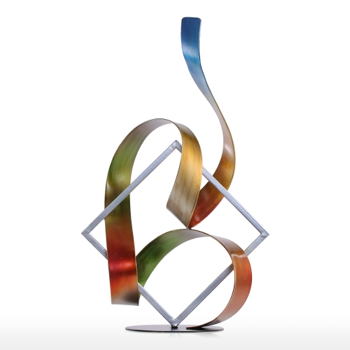 Tooarts Square and Ribbon Modern Sculpture Abstract Sculpture Metal Sculpture Indoor-Outdoor Decor