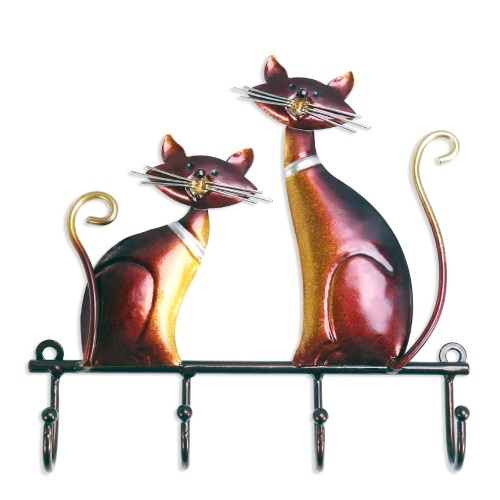 Tooarts Iron Cat Wall Hanger Hook Decor 4 ganchos para abrigos de pared soporte de pared titular de la ropa regalo decorativo