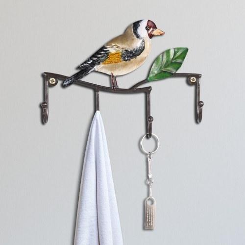 Gancho de pared para pájaros Percha decorativa de pared de hierro Abrigo montado en la pared Llavero Gancho para colgar Percha de diseño vintage con 4 ganchos