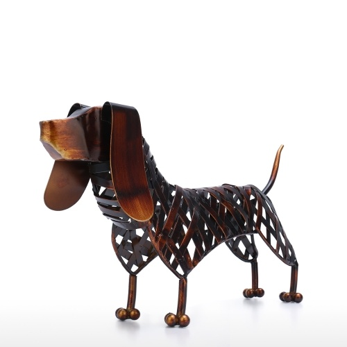 Tooarts Braided Dog Sculpture Modern Iron Ornament Creative Braided Figurine Handmade Craft Special Animal Styling Shelf and Desk Decoration Home Decor