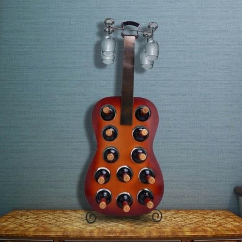 Tooarts 12 Bottles Guitar Wine Rack Large Guitar Art Decoration Creative Wine Rack