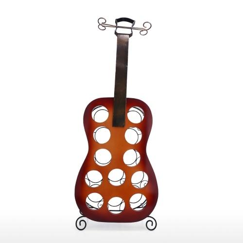 Tooarts 12 Botellas Guitarra Estante para vino Guitarra grande Decoración de arte Estante para vino creativo Estante artesanal de hierro y madera resistente Estante para exhibición y almacenamiento Decoración para el hogar