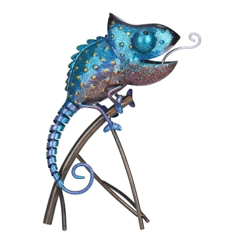 Tooarts Escultura de camaleón Adorno de animales de hierro Estilo animal salvaje Decoración interior o exterior Regalo de los amantes del camaleón Azul