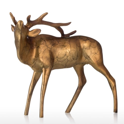 Oro escultura de cobre de bronce Buck Brillo Aspecto Animal Buck