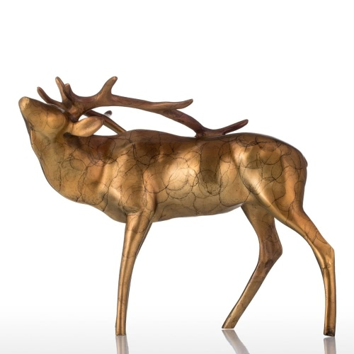 Tooarts Golden Copper Buck Bronze Sculpture Shinny Apperance Animal Buck