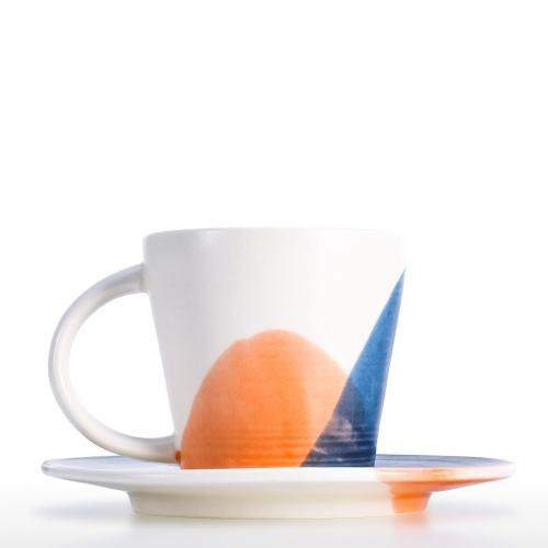 Keramik Tasse und Untertasse Set Kaffeetasse Set mit Untertasse 2er Set Mikrowelle Safe Kaffee oder Espressotasse