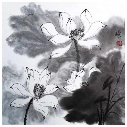 Tooarts The Charming Lotus Chinese Painting Wall Art Artist Hand-Painted Chinese Brush Painting Traditional Decoration Home Office Decoration Painting Carefully Packed