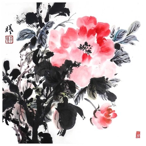Tooarts Besotted in the Flowers Chinese Flower Painting Wall Art Artist Hand-Painted Chinese Brush Painting Traditional Decoration Home Office Decoration Painting Carefully Packed