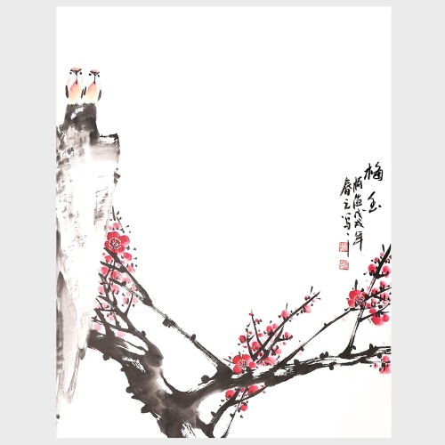 ATraditional Chinese Painting Plum Blossom's Fragrance Modern Home Decor Wall Art for Living Room Bedroom