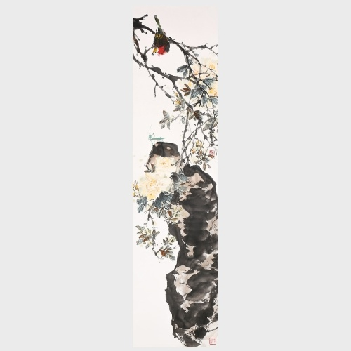 The Bird is the Herald of Spring Flower and Bird Painting Chinese Ink Painting Wall Art Decor for Home Office Room Decoration