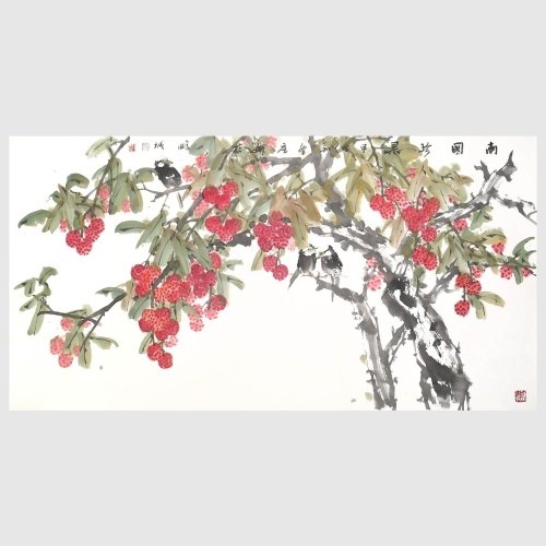 Litchi in the South Traditional Chinese Painting Chinese Ink Painting Artwork of Litchi Branches Wall Art