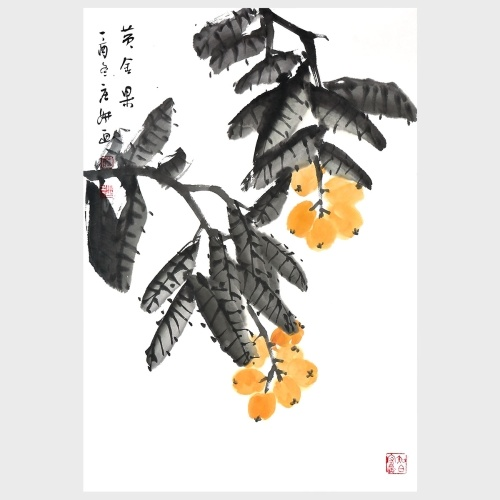 Gold Berry Fruit Painting Natural Art Home Decor Wall Art Painting Print Pictures 100% Handmade Artwork