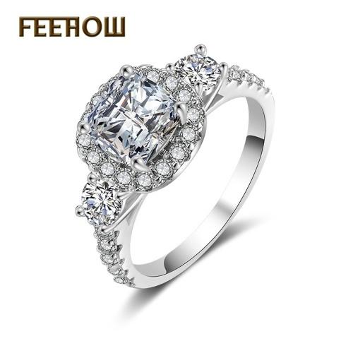 FEEHOW nova moda simples anel de zircão